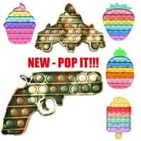 NEW Poppit Camouflage Push Pop Bubbles Boys Fidget Sensory Toy Girls Rainbow Kawaii Pop It Fidget Toy Autism Antistress Squishy DHL