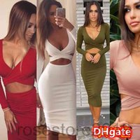 2021 spring and summer new women's dress Navel Long Sleeve Bag Hip Knee-length Party party dress