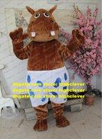 Plush Furry Brown Male Hippo Hippopotamus Mascot Kostym Vuxen Tecknad Karaktär Outfit Handel Utställningshandlare Visa Fair ZX2927