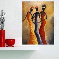 Escandinavo vintage africano mujer retrato pintura al óleo sobre lienzo Pósteres y estampados Cuadros Cuadros Arte de la pared para sala de estar