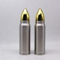 الإبداعية 1000ML رصاصة شكل زجاجة الشرب 32 أوقية الفولاذ المقاوم للصدأ فراغ الزجاجات معزول قارورة في الهواء الطلق كأس المياه الرياضية