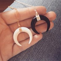 Pendant Necklaces Lusion Brand Punk Gold Color Simulated Ivory Necklace Handmade Boho Chunky Fashion Jewelry Accessories