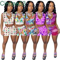 Summer Women Tracksuits Sleeveless Zip Top + Shorts Multicolor Printing Two Piece Sets Yoga Outfits Gym Clothes Plus Size Sportwear