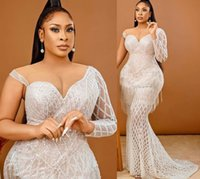 2021 Plus Size Arabic Aso Ebi Luxurious Mermaid Sexy Prom Dresses Beaded Lace Sheer Neck Evening Formal Party Second Reception Gowns Dress ZJ266