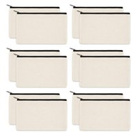 Pencil Bags 12 Pack Canvas Zipper Bags, Blank DIY Craft Pouches For Travel Cosmetic Makeup Case, Party Gift Coin Cash Pur