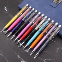 الإبداعية الكريستال القلم الماس حبر بوينت أقلام القرطاسية ballpen stylus لمس الزيتية الأسود الملء