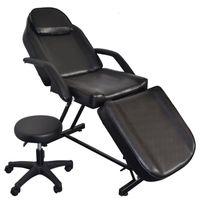 의자가있는 휴대용 살롱 의자 이발사 가구 이발 의자 마사지 침대 스파 얼굴 아름다움 검정