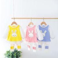 Kid Girls Cute Clothing Sets Cartoon Rabbit O-neck Long Sleeve Toddler Baby Outwear Shirt + Pants 1 2 3 4 Years A3809