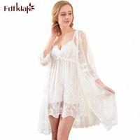 FDFKlak Alta Qualidade Sexy 3 Peças Definir Primavera Verão Robe Mulheres Lace Branco Bathrobes Mulheres Sleepwear Vestes Lounge Nightgown F37J #