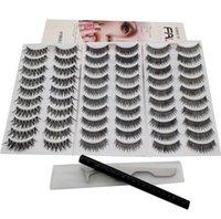 30 Pairs Mink Lashes Faux False Eyelashes with Tweezer and Self Adhesive Liquid Eyeliner Glue Pen for Eye Lash Mixed Natrual Long Wispies Eyelash