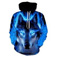 Men's Hoodies & Sweatshirts Fashion Wolf Animal 3D Print Men Women Spring Autumn Winter Hip Hop Shinning Hoody Male Casual Tops