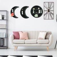 Suspending Wooden Tableau mural Flottant Moon Étagères Décor à la maison Pour salon Chambre à coucher Salle de bain Crochets de cuisine Crochets Crochets