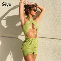 Giyu Summer Halter Woman Dress Club Party Backless Ruched Mini Casual Women Clothing Sexy Bodycon Hollow Out Vestidos 2021 Dresses