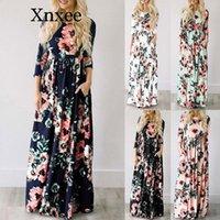 Casual Dresses 2021 Summer Long Dress Floral Print Boho Beach Tunic Maxi Women Evening Party Sundress Vestidos De Festa XXXL