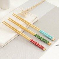 Bambu Çubuklarını Pratik Doğal Ağaçlık Stil Chopstick Kişiselleştirilmiş Düğün Iyilik Giveaways Hediye DWB7262