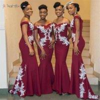 Burgundy African Bridesmaid Dresses Plus Size Off The Shoulder White Lace Mermaid Wedding Guest Dress Cheap 2021 BJ01