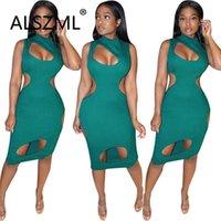 Grünes o neckloch spezielles design ärmelloses dünnes mini kleid sexy enge club party dame mode lässige kleider
