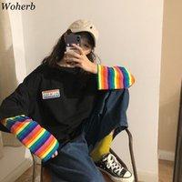 WOHERB Gökkuşağı Çizgili Sahte İki Parça T Gömlek Kadın Casual Gevşek Harajuku BF Kadın Kore Moda Yeni Streetwear Tops 91296