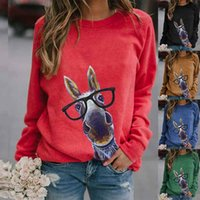 European and American autumn winter women's hoodie features a cute donkey print long-sleeve T-shirt with multi-color options