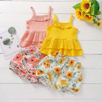 kids Clothing Sets girls outfits children ruffle Sling Tops+flower Floral print shorts 2pcs set summer fashion Boutique baby Clothes