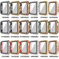 Watch case Screen Protector film dual color plating with 2 rows diamonds for Apple iWatch Series 6 5 4 3 1 SE 38MM 42MM 44MM 40MM Protective Cover have box
