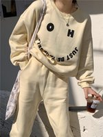 Women's Two Piece Pants Two-Piece Set Autumn Casual Oversized O-Neck Loose Letter Pullover And Carrot Jogging Sportswear Suit