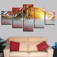 5 Piezas Red Tree Sunshine Scenery Paisaje Pinturas Cartel Living Room Wall Art (Sin Frame) Moderna Decoración de Hogar Imágenes Impresas