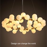 Pendant Lamps Modern Lights Living Dining Room Bedroom Warm And Romantic White Glass Ball 25 Heads Black Gold Body Line Hanging