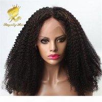Dichte 250% brasilianische kinky lockige vordere spitze menschliche haarperücken unverarbeitete haare tiefe curl glueleless volle spitzeperücke mit babyhaar