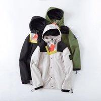 Chaqueta con capucha clásica del norte de los hombres de alta densidad bordada brazalete logo algodón nylon paño suelto abrigo stowable invisible sudaderas con capucha