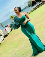 Aso Ebi 2021 Green Mermaid Prom Dresses One Shoulder Long Puff Sleeve Simple Lace Satin Formal Evening Gowns Plus Size African Black Girls Pageant Dress