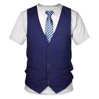 Men's T-Shirts 2021 Funny Fake Suit Tuxedo 3D Printed Men Women Summer Fashion Casual Short Sleeve Streetwear Vest T-shirt