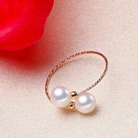 4-5mm Runder Süßwasser Perlenring Für Frauen Einstellbare 18 Karat Gold Mode Gepflanzte Band Ringe Schmuck Zubehör