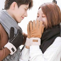 Autumn and winter outdoor skiing cycling warm gloves suede thickened motorcycle women's Plush men's couple