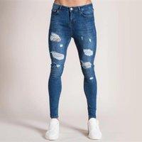 Men's Jeans 2021 European And American Fashion Men Slim Skinny Leg Pants Hip-hop Wash Worn Micro Elastic Hole