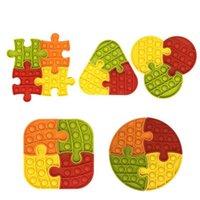 Empurre Pop It Undget Brinquedo Jigsaw Colorido Jogo sensorial Ansiedade Reliever Criança Crianças Adultos Brinquedos Brain Game Presente