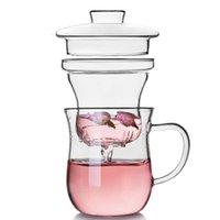 부엌 식사 새로운 투명 유리 우유 낯 짝 커피 컵 주전자 주전자 차 주입기 필터 뚜껑 홈 오피스 Drinkware
