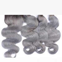 9A Ombre Brazilian Virgin Human Hair Weaves 3 Bundles With Lace Closures Body Wave Ombre 1B Grey Peruvian Malaysian Indian Hair Extensions
