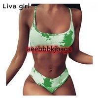 Bikinis Set Liva Kız Seksi Yeşil Desen Bikini Push Up Yastıklı Mayo Bandeau Yaz Monokini Artı Boyutu Mayo Brezilyalı Biquini1
