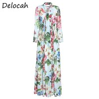 Delocah Summer Women Holiday Boho Long Dress Sleeve Bow Floral Print Female Fashion Runway Party Maxi Dresses Vestidos 2021 Casual