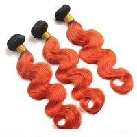 """البرازيلي البرتقالي أومبير شعر الإنسان موجة الجسم موجة نسج حزم # 1B 350 الجذور السوداء البرتقال أومبير الإنسان لحمة 3 حابة 10-30 """"مختلطة lengt"""