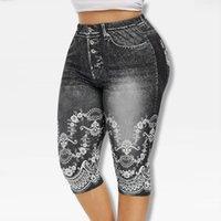 Baskılı Yanlış Denim Yoga Pantolon 3 \ 4 Kadın Kot Tozluk Yüksek Bel Pantolon Pantolon Süper Elastik Jeggings Artı Boyutu 5xlsoccer Jersey