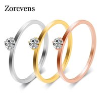 Cluster Rings ZORCVENS 2021 Small Cubic Zirconia Bague Femme High Quality Stainless Steel Fashion Jewelry Ring For Woman Wholesale