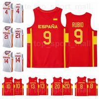 2021 Tokyo Olympics إسبانيا كرة السلة جيرسي 9 ريكي روبيو 13 مارك جاسول 4 باو 21 أليكس أبرينز 10 فيكتور كلير 14 ويلي هيرناناغوميز 20 ألبرتو ابددي رجل امرأة الشباب