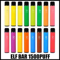 엘프 바 1500 퍼프 전자 담배 일회용 포드 장치 1500Puffs 850mAh Battey 4.8ml 포드 프리 빌딩 카트리지 vapes 키트 Displayables 16 색 2 % Ni 강도 대 퍼프 흐름