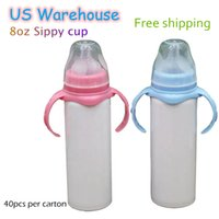 US Warehouse Sublimation Nursing Tumblers 8oz Double Insulated Baby Feeding Cup Stainless Steel Milk Bottle Dual Handle with Nipple Blue Pink preorder
