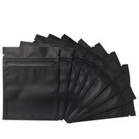 Recipientes de armazenamento de salvadores de alimentos 100 pack cheiro à prova sacos - 3 x 4 polegadas resealable mylar foil bolsa bolsa de zíper liso fecho fosco preto