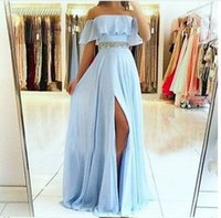 Sexy A Line Light Sky Blue Prom Dress Long Graduation Party Formal Split Chiffon For Evening Gown