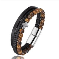 Charm Bracelets Multilayer Leather Woven Natural Stone Beaded Men's And Women's Fashion Punk Style Rock Roll Party Jewelry Gifts