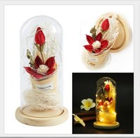 Decorative Flowers & Wreaths Led Light Night Micro Landscape Decoration Wood Lily Eternal Flower Gift Mother's Day Glass Cover Artificial